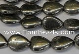 CPY65 15.5 inches 12*16mm flat teardrop pyrite gemstone beads wholesale