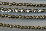 CPY70 15.5 inches 2mm round pyrite gemstone beads wholesale
