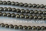 CPY71 15.5 inches 3mm round pyrite gemstone beads wholesale