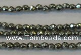 CPY72 15.5 inches 2mm faceted round pyrite gemstone beads wholesale