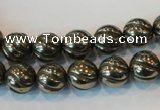 CPY75 15.5 inches 10mm carved round pyrite gemstone beads wholesale
