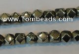 CPY78 15.5 inches 8-9mm faceted nuggets pyrite gemstone beads
