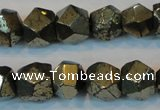 CPY80 15.5 inches 12mm faceted nuggets pyrite gemstone beads