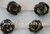 CPY94 15.5 inches 16mm carved rose pyrite gemstone beads wholesale