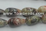 CRA06 15.5 inches 10*20mm teardrop natural rainforest agate beads