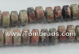 CRA07 15.5 inches 6*10mm rondelle natural rainforest agate beads