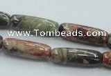 CRA08 15.5 inches 9*25mm cylinder natural rainforest agate beads