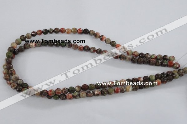 CRA101 15.5 inches 8mm faceted round rainforest agate gemstone beads