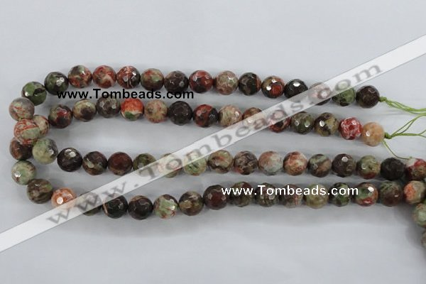 CRA102 15.5 inches 10mm faceted round rainforest agate gemstone beads