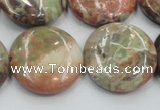 CRA12 15.5 inches 25mm flat round natural rainforest agate beads