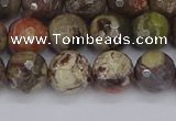 CRA162 15.5 inches 8mm faceted round rainforest agate beads