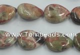 CRA18 15.5 inches 13*18mm flat teardrop natural rainforest agate beads
