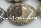 CRA21 15.5 inches 30*40mm flat teardrop natural rainforest agate beads