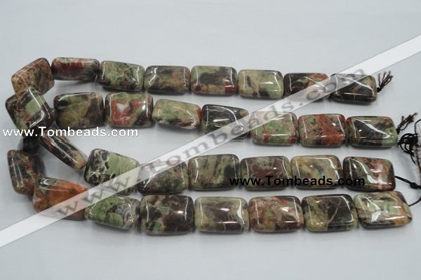 CRA22 15.5 inches 18*25mm rectangle natural rainforest agate beads