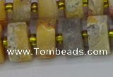 CRB1249 15.5 inches 8*16mm tyre matte crazy lace agate beads