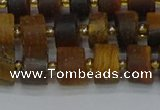 CRB1253 15.5 inches 6*10mm tyre matte yellow tiger eye beads