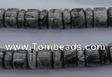 CRB126 15.5 inches 4*10mm & 7*10mm rondelle grey picture jasper beads