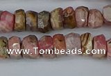 CRB1283 15.5 inches 5*8mm faceted rondelle rhodochrosite beads
