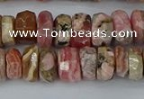 CRB1284 15.5 inches 6*10mm faceted rondelle rhodochrosite beads