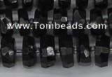 CRB1421 15.5 inches 6*10mm faceted rondelle black tourmaline beads