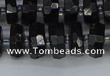 CRB1422 15.5 inches 6*12mm faceted rondelle black tourmaline beads
