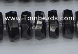 CRB1424 15.5 inches 8*16mm faceted rondelle black tourmaline beads