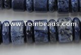 CRB187 15.5 inches 6*16mm � 10*16mm rondelle blue dumortierite beads