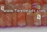 CRB1933 15.5 inches 6*12mm faceted rondelle sunstone beads