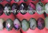 CRB1977 15.5 inches 5*8mm faceted rondelle ruby zoisite beads