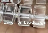 CRB2001 15.5 inches 9mm - 10mm faceted tyre white crystal beads
