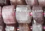 CRB2062 15.5 inches 11mm - 12mm faceted tyre strawberry quartz beads