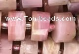 CRB2075 15.5 inches 7mm - 8mm faceted tyre pink opal beads