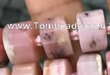 CRB2077 15.5 inches 11mm - 12mm faceted tyre pink opal beads