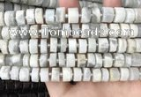 CRB2081 15.5 inches 9mm - 10mm faceted tyre grey moonstone beads