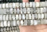 CRB2083 15.5 inches 12mm - 13mm faceted tyre grey moonstone beads