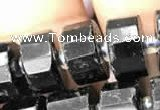 CRB2100 15.5 inches 7mm - 8mm faceted tyre black tourmaline beads
