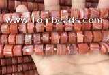 CRB2107 15.5 inches 11mm - 12mm faceted tyre red agate beads