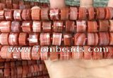 CRB2108 15.5 inches 12mm - 13mm faceted tyre south red agate beads