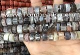 CRB2112 15.5 inches 11mm - 12mm faceted tyre Botswana agate beads