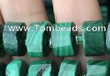CRB2150 15.5 inches 7mm - 8mm faceted tyre malachite beads