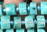 CRB2160 15.5 inches 7mm - 8mm faceted tyre amazonite gemstone beads