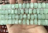CRB2166 15.5 inches 11mm - 12mm faceted tyre light prehnite beads