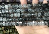 CRB2191 15.5 inches 9mm - 10mm faceted tyre black rutilated quartz beads