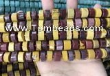 CRB2201 15.5 inches 8mm - 9mm faceted tyre mookaite beads