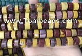 CRB2203 15.5 inches 11mm - 12mm faceted tyre mookaite beads