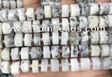 CRB2209 15.5 inches 13mm - 14mm faceted tyre white opal beads