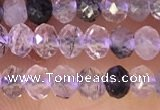 CRB2265 15.5 inches 3*4mm faceted rondelle black rutilated quartz beads