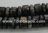 CRB253 15.5 inches 5*14mm - 10*14mm rondelle grey opal gemstone beads