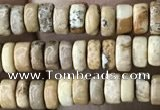 CRB2568 15.5 inches 2*4mm heishi picture jasper beads wholesale
