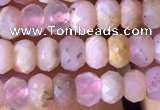 CRB2614 15.5 inches 3*4mm faceted rondelle pink opal beads